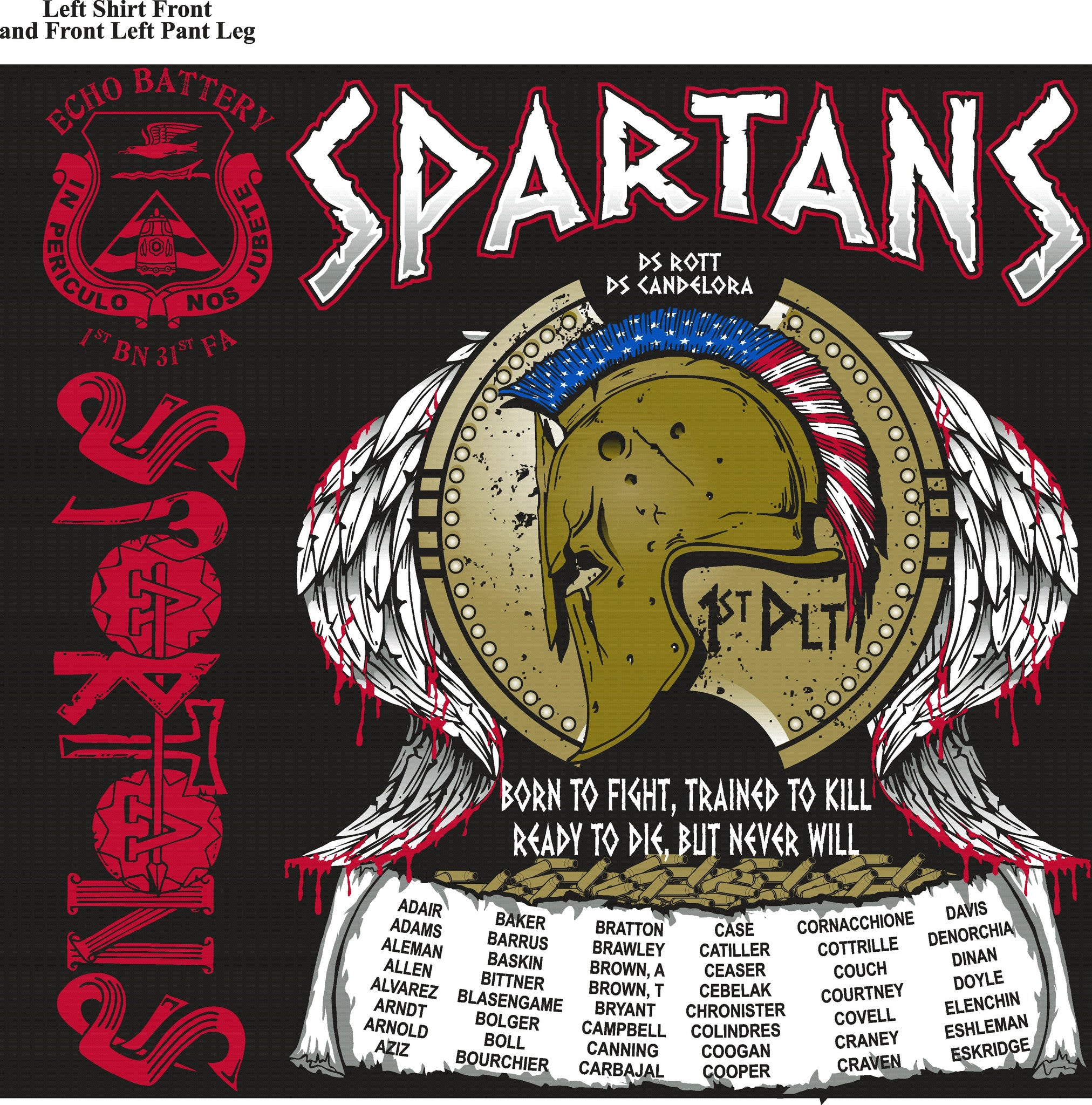 Platoon Shirts ECHO 1st 31st SPARTANS AUG 2015