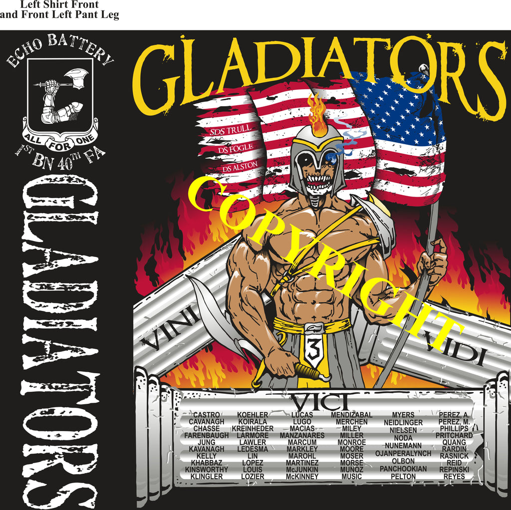 Platoon Shirts (2nd generation print) ECHO 1st 40th GLADIATORS SEPT 2019