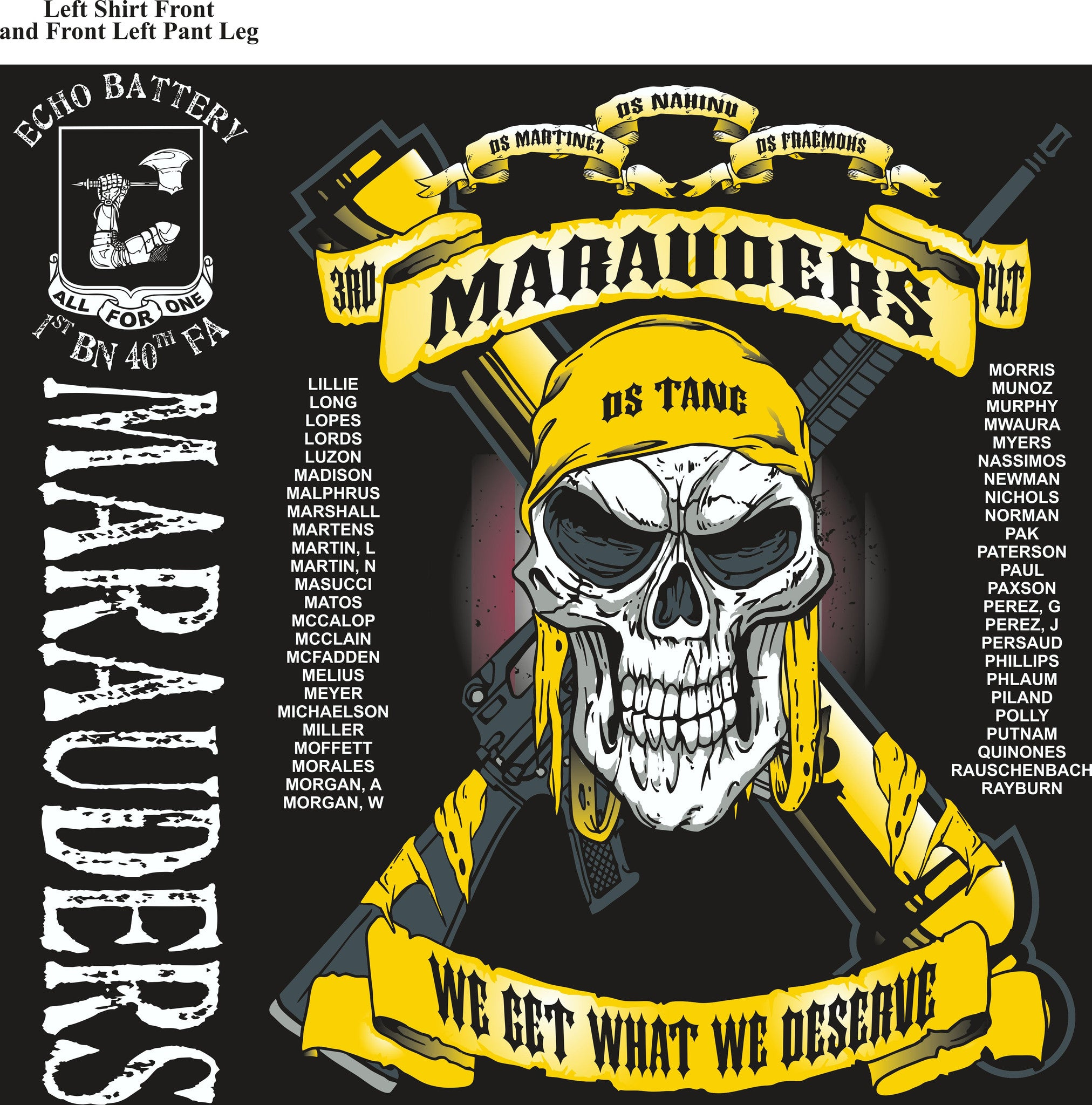 PLATOON SHIRTS (2nd generation print) ECHO 1st 40th MARAUDERS JAN 2017