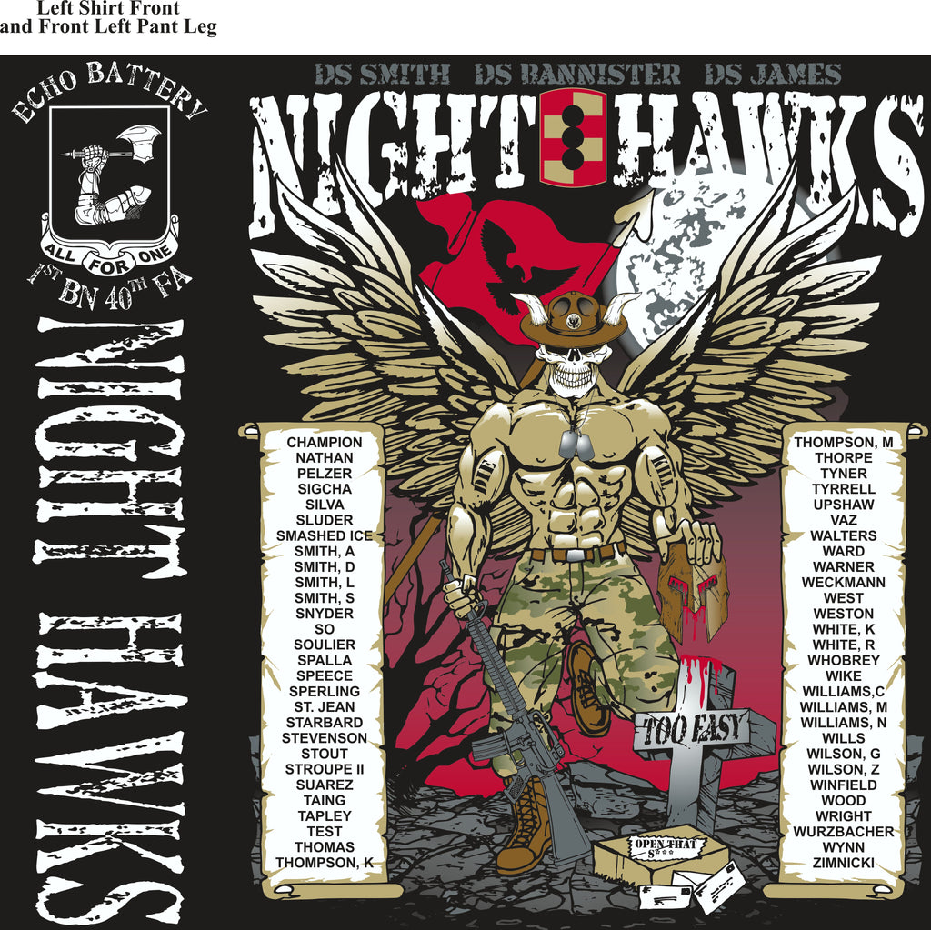 Platoon Shirts (2nd generation print) ECHO 1st 40th NIGHT HAWKS AUG 2018