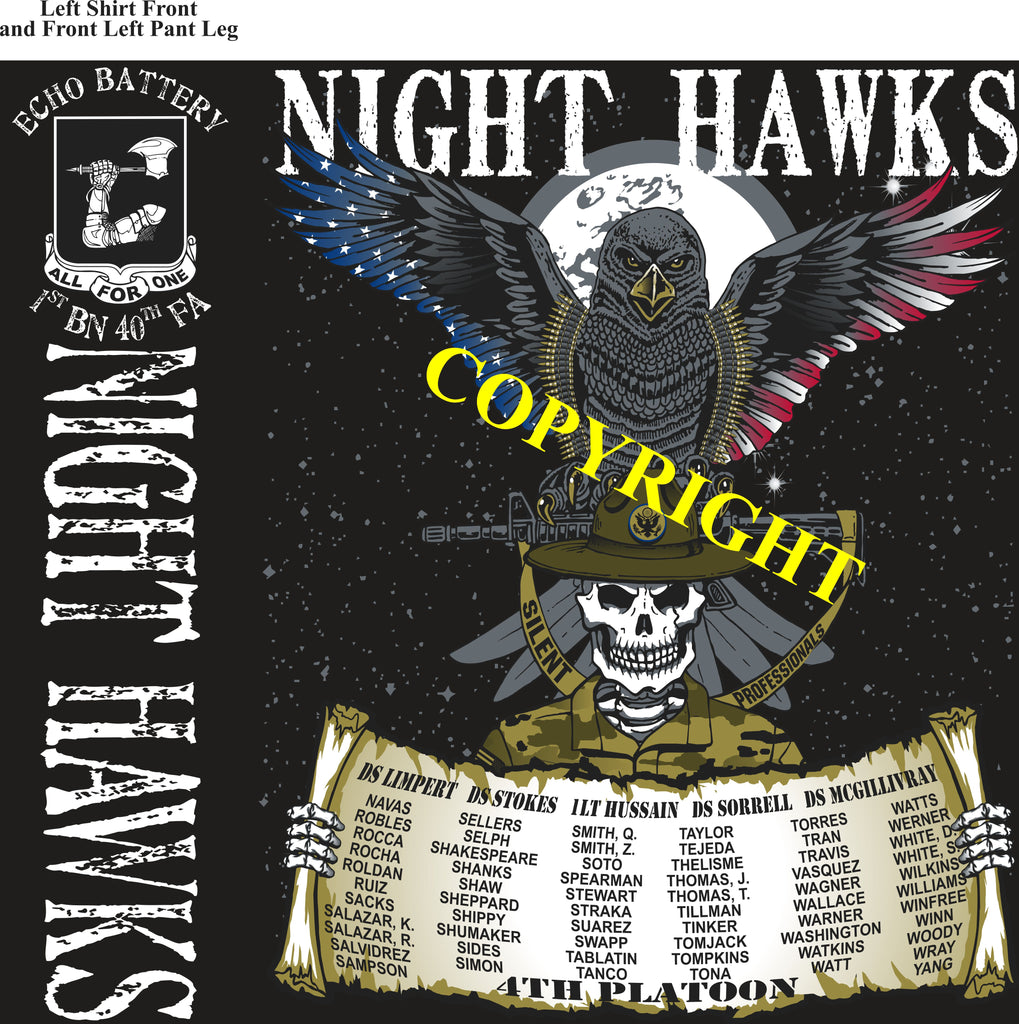 Platoon Shirts (2nd generation print) ECHO 1st 40th NIGHT HAWKS DEC 2019