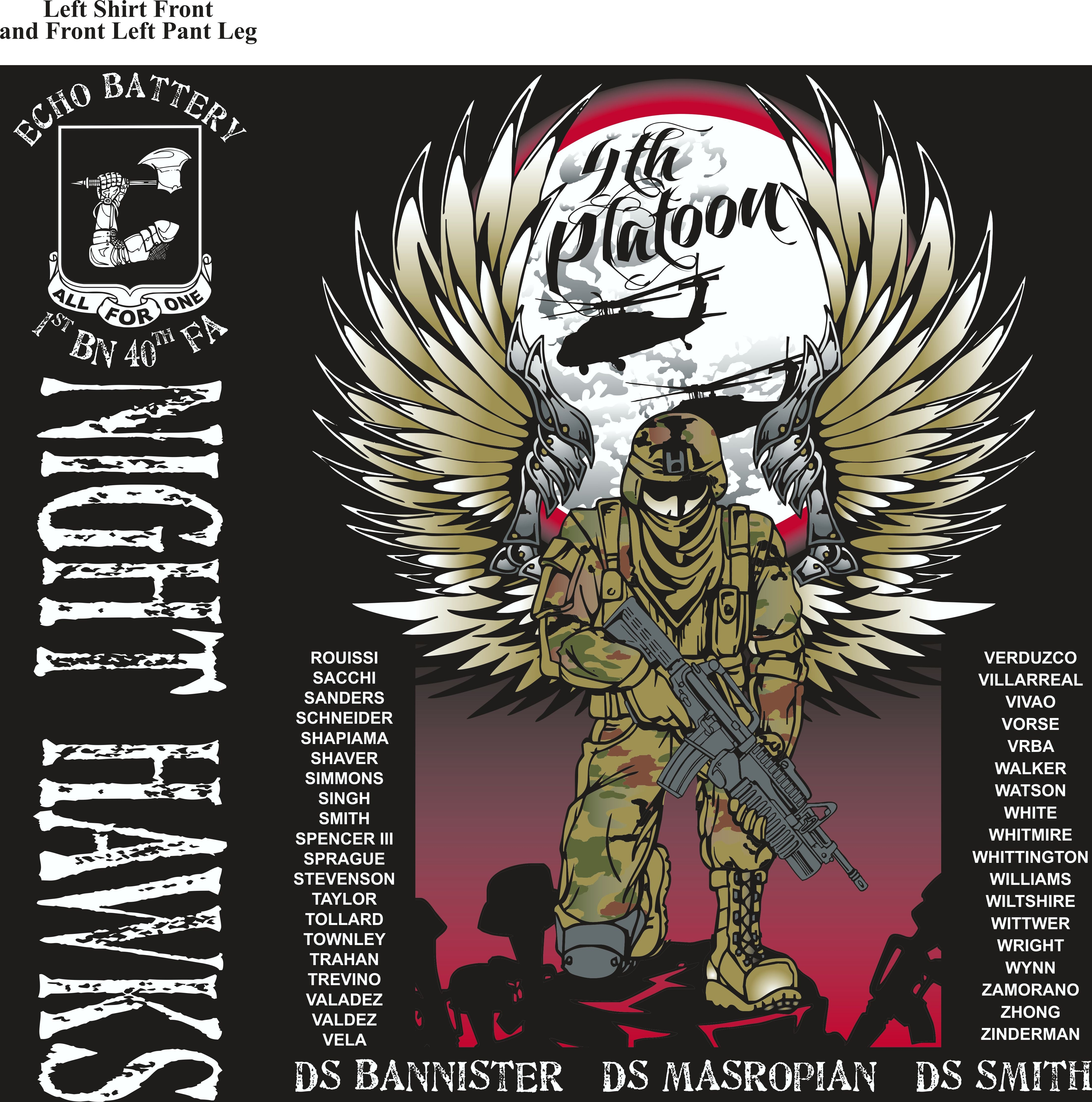 Platoon Shirts (2nd generation print) ECHO 1st 40th NIGHT HAWKS JUNE 2018