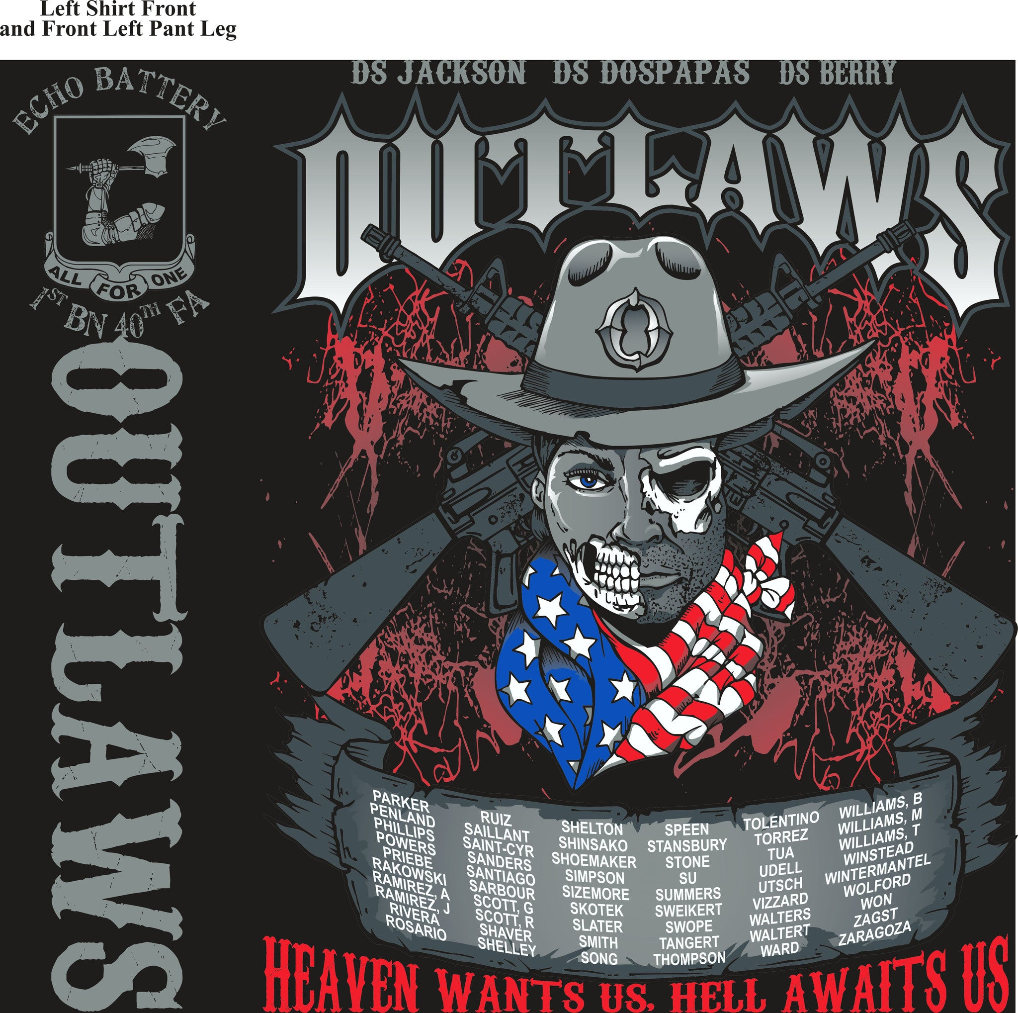 Platoon Shirts ECHO 1st 40th OUTLAWS APR 2015
