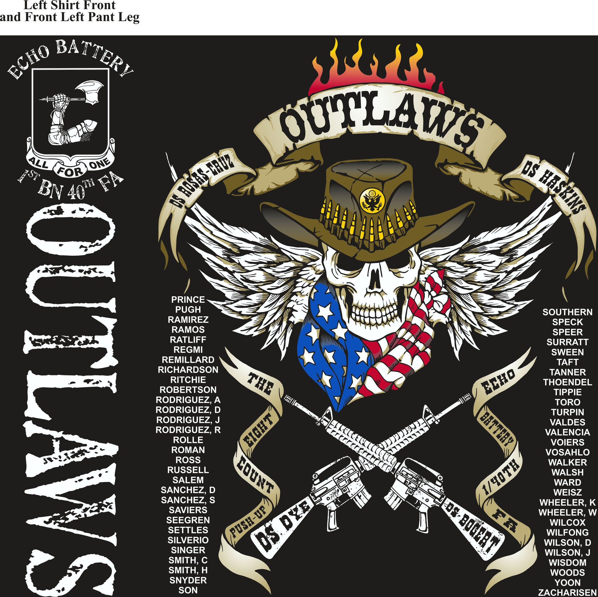 PLATOON SHIRTS (2nd generation print)  ECHO 1st 40th OUTLAWS OCT 2016