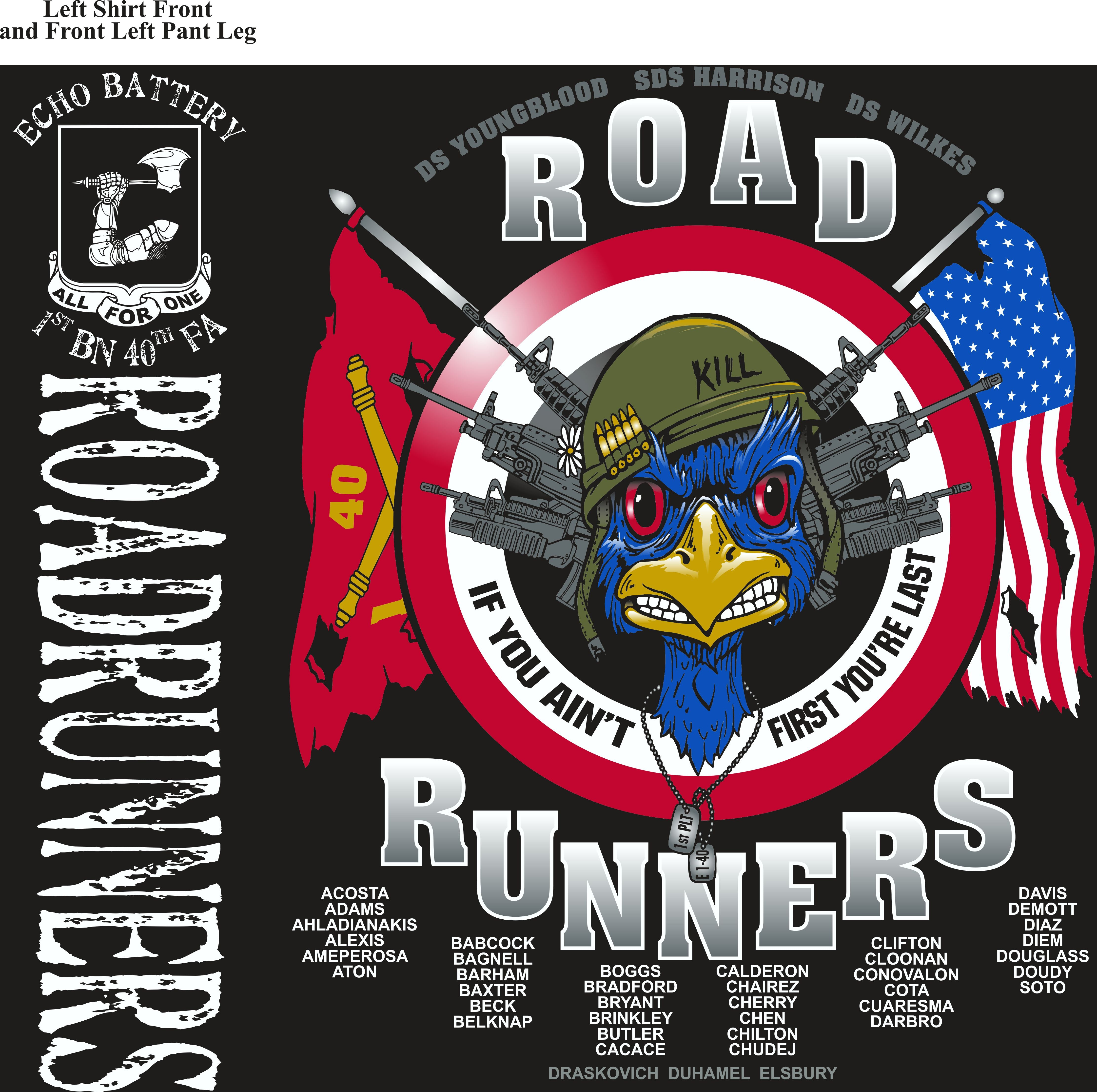 Platoon Shirts (2nd generation print) ECHO 1st 40th ROAD RUNNERS JUNE 2018