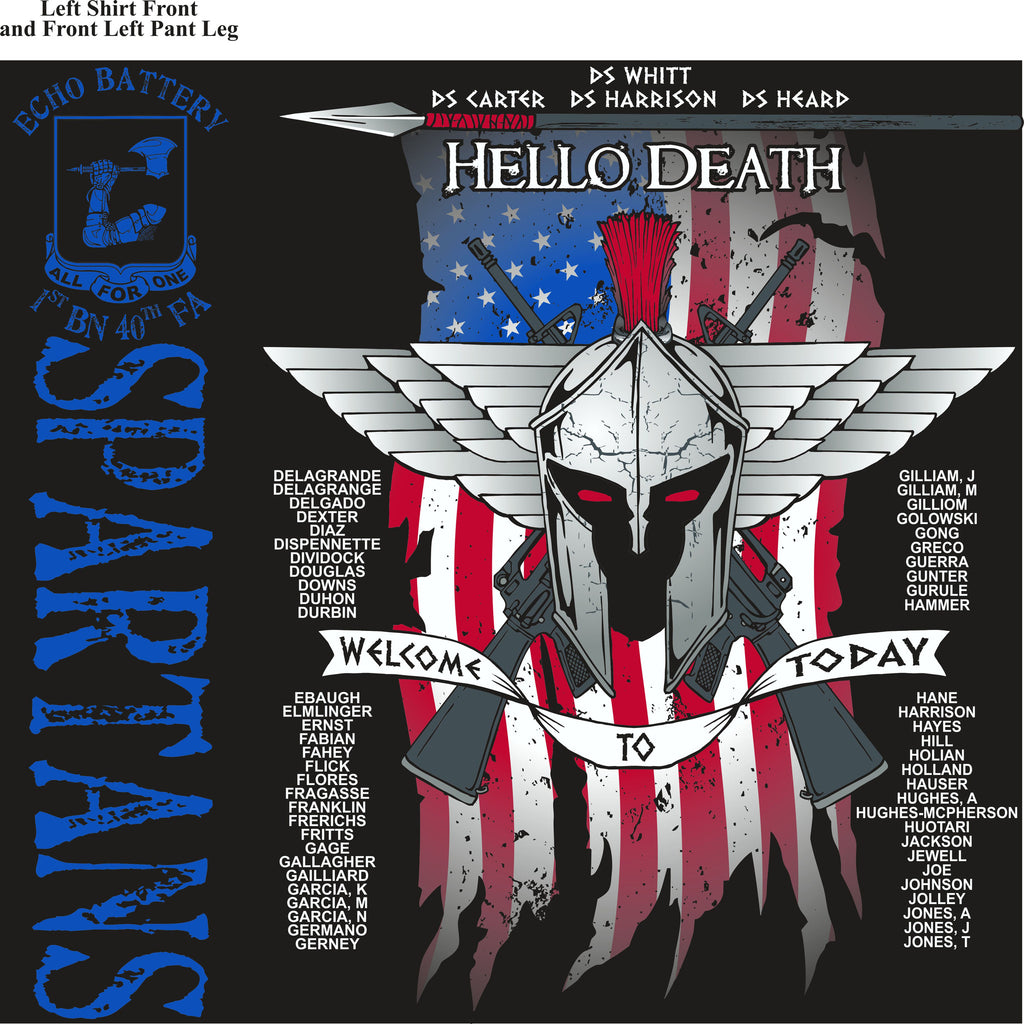 PLATOON SHIRTS (2nd generation print)  ECHO 1st 40th SPARTANS OCT 2016