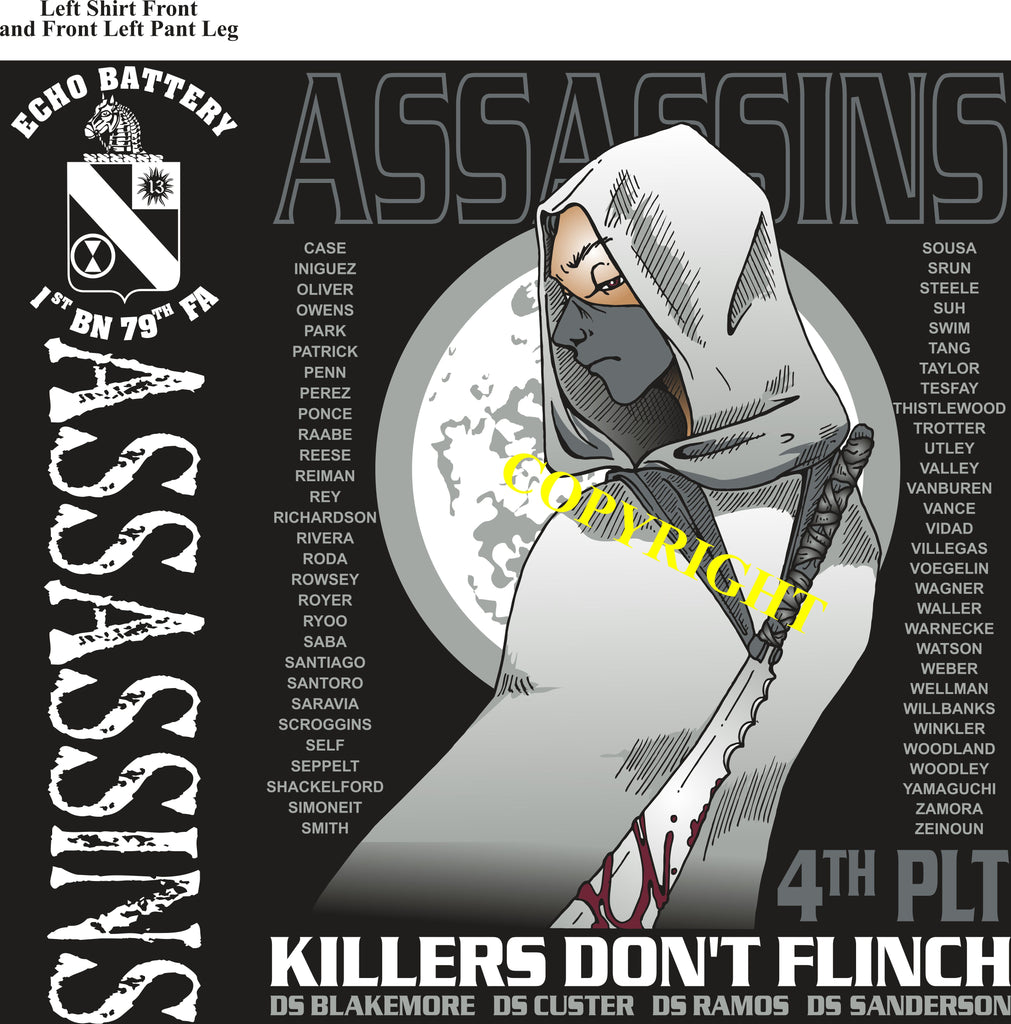 Platoon Shirts (2nd generation print) ECHO 1st 79th ASSASSINS MAR 2019