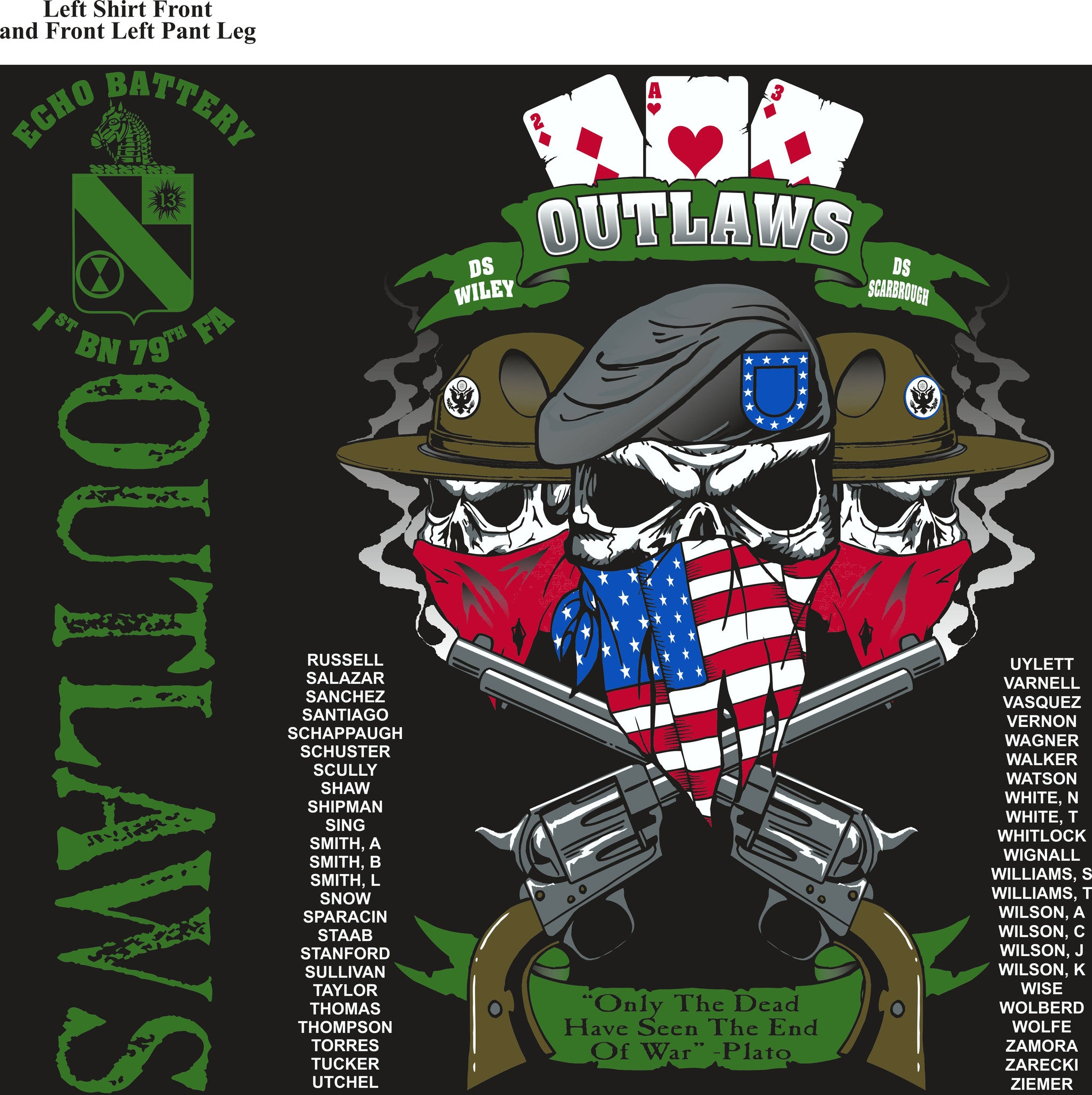 PLATOON SHIRTS (2nd generation print) ECHO 1st 79th OUTLAWS AUG 2016