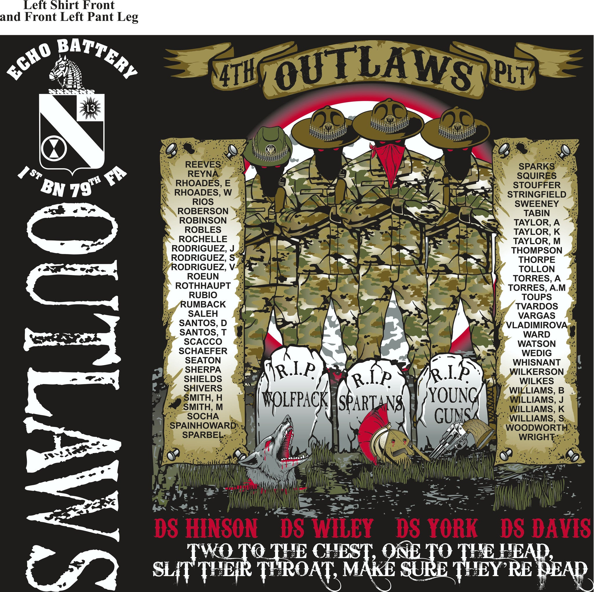PLATOON SHIRTS (2nd generation print) ECHO 1st 79th OUTLAWS OCT 2016