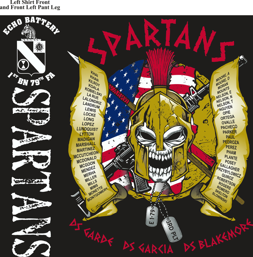 Platoon Shirts (2nd generation print) ECHO 1st 79th SPARTANS AUG 2018