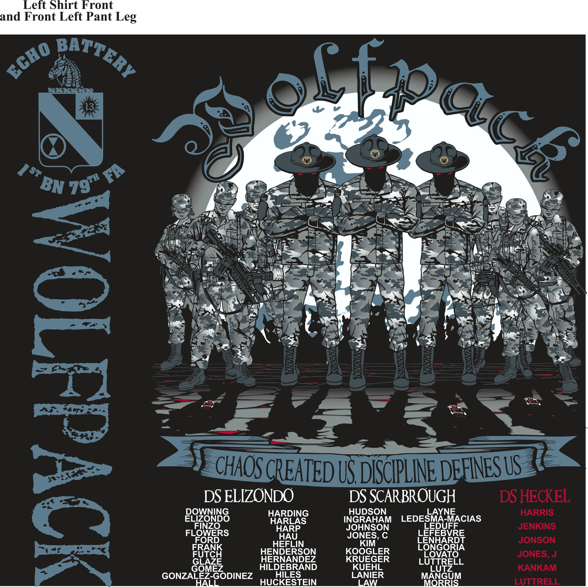 PLATOON SHIRTS (2nd generation print) ECHO 1st 79th WOLFPACK AUG 2016
