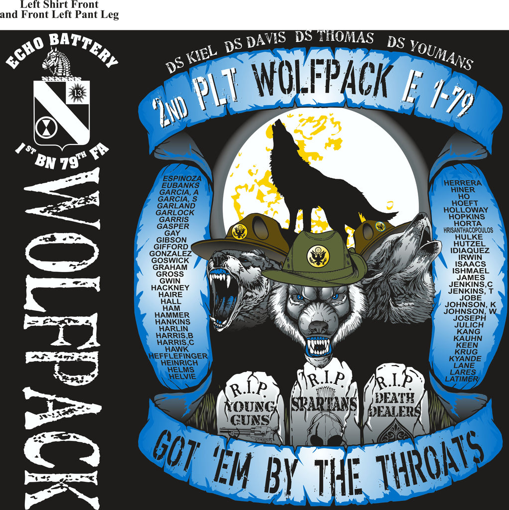 PLATOON SHIRTS (2nd generation print) ECHO 1ST 79TH WOLFPACK AUG 2017