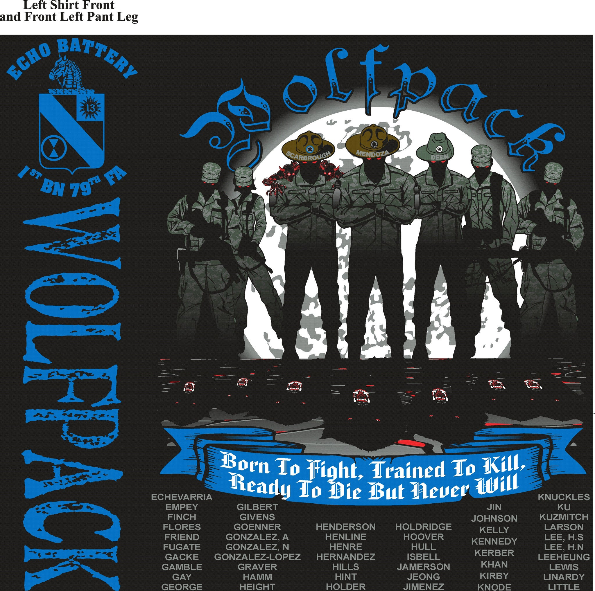 Platoon Shirts ECHO 1st 79th WOLFPACK OCT 2015