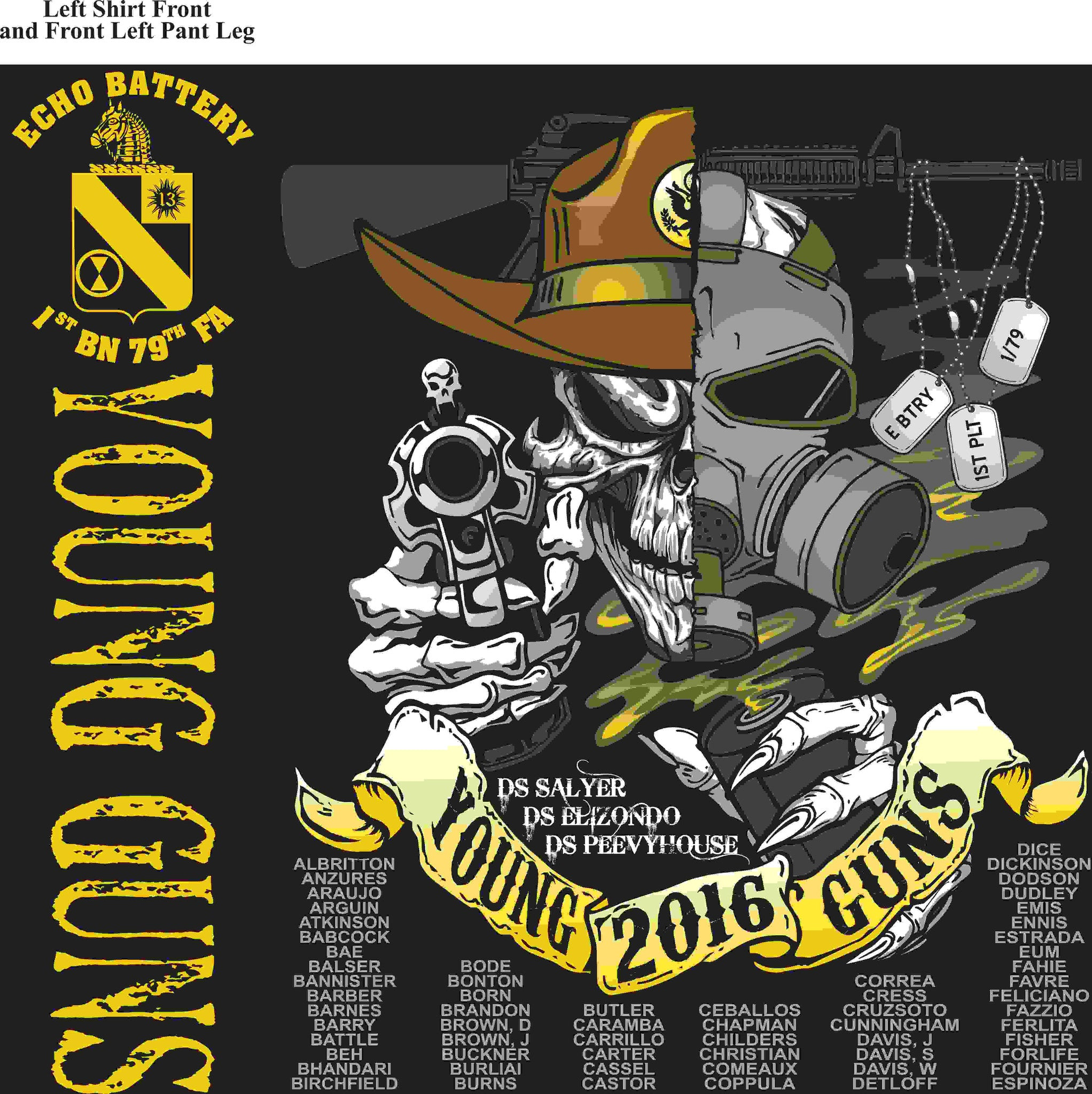 PLATOON SHIRTS (2nd generation print) ECHO 1st 79th YOUNG GUNS APR 2016
