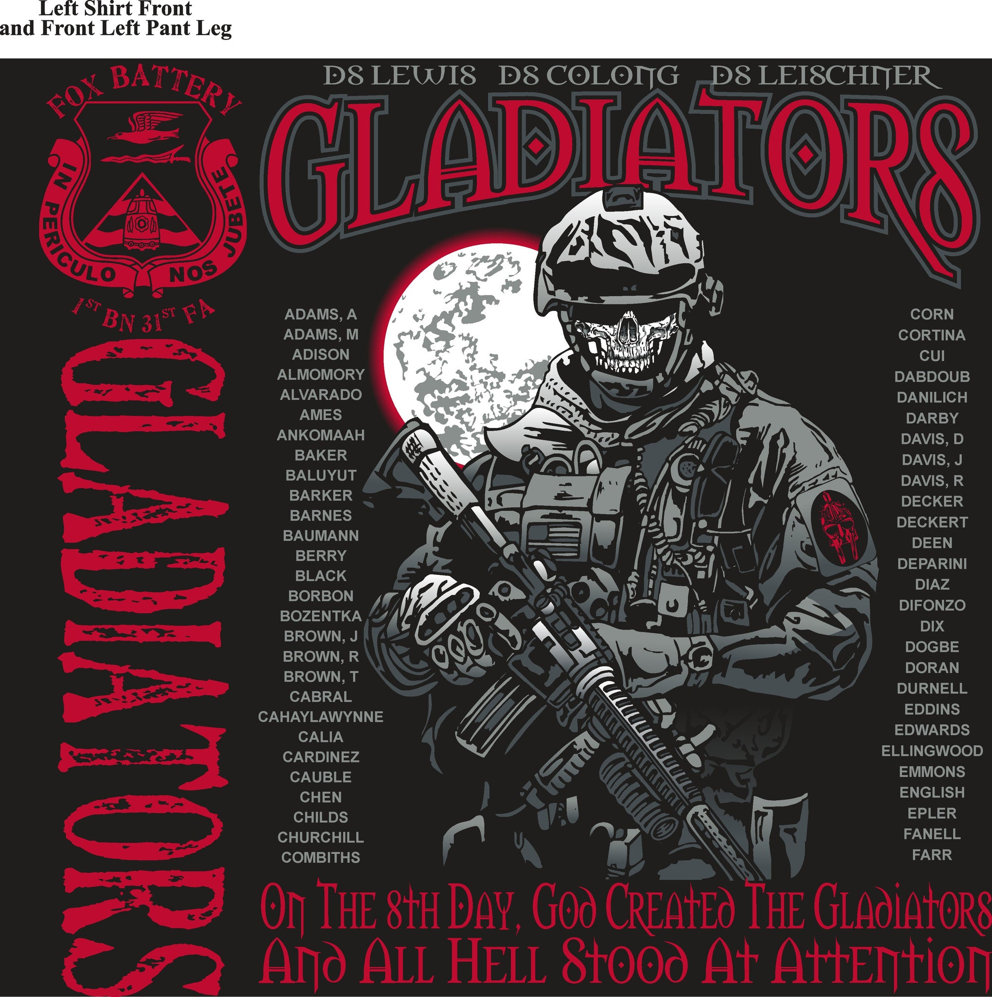Platoon Shirts FOX 1st 31st GLADIATORS JUNE 2015