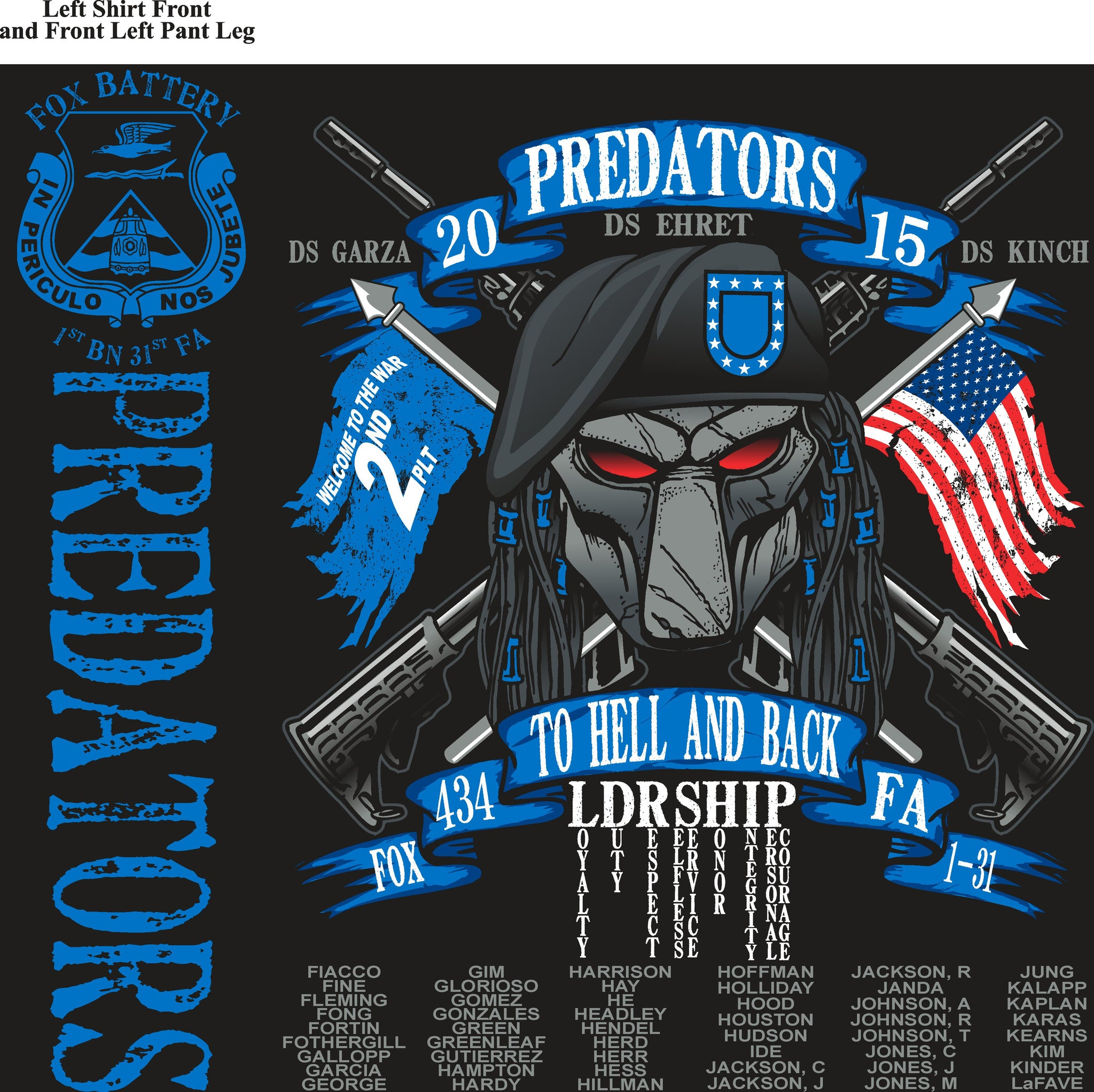 Platoon Shirts FOX 1st 31st PREDATORS JUNE 2015