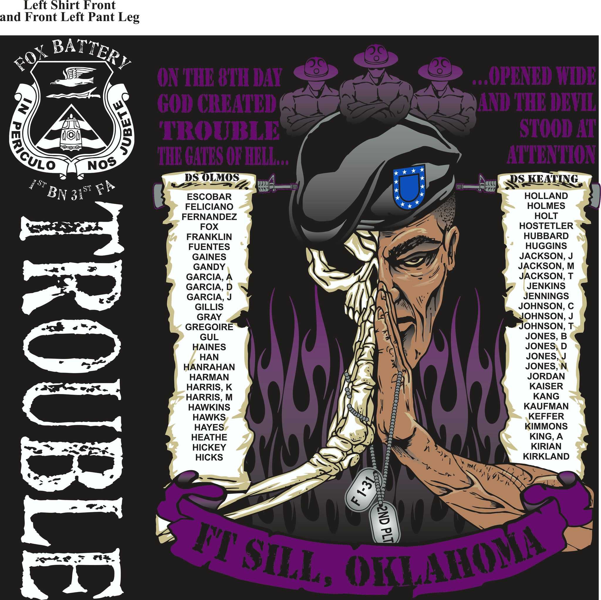 PLATOON SHIRTS (2nd generation print) FOX 1st 31st TROUBLE SEPT 2016