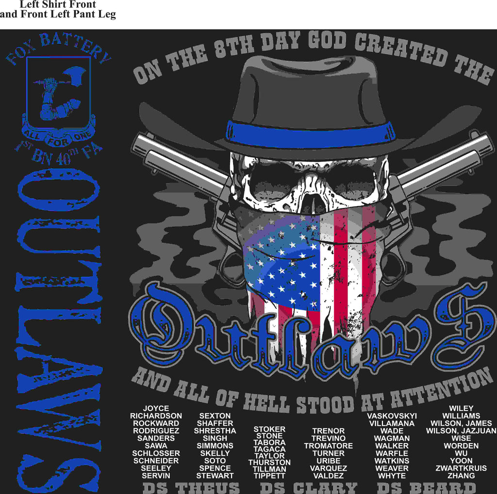 PLATOON SHIRTS (2nd generation print) FOX 1st 40th OUTLAWS MAY 2016
