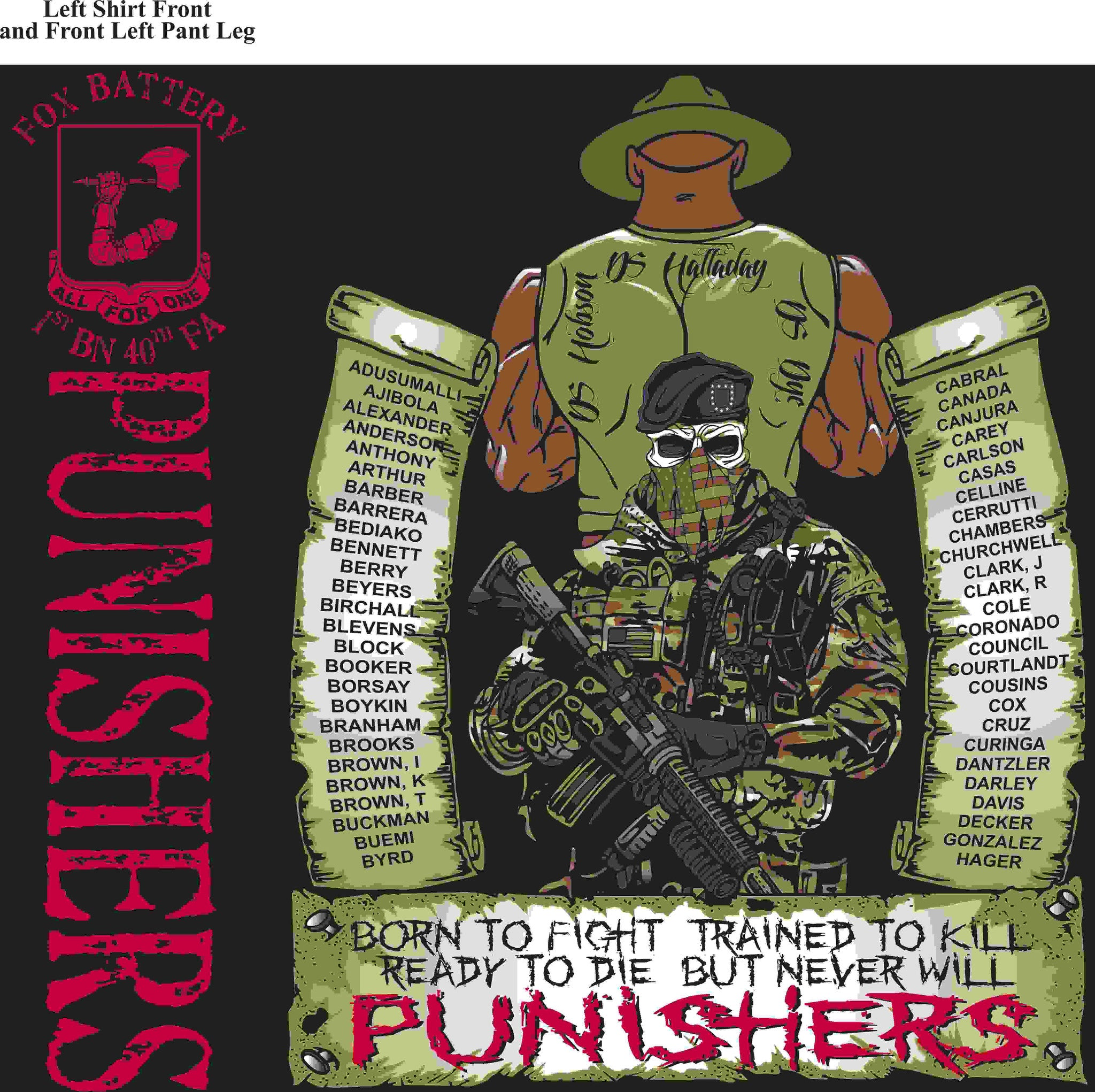 PLATOON SHIRTS (2nd generation print) FOX 1st 40th PUNISHERS MAY 2016