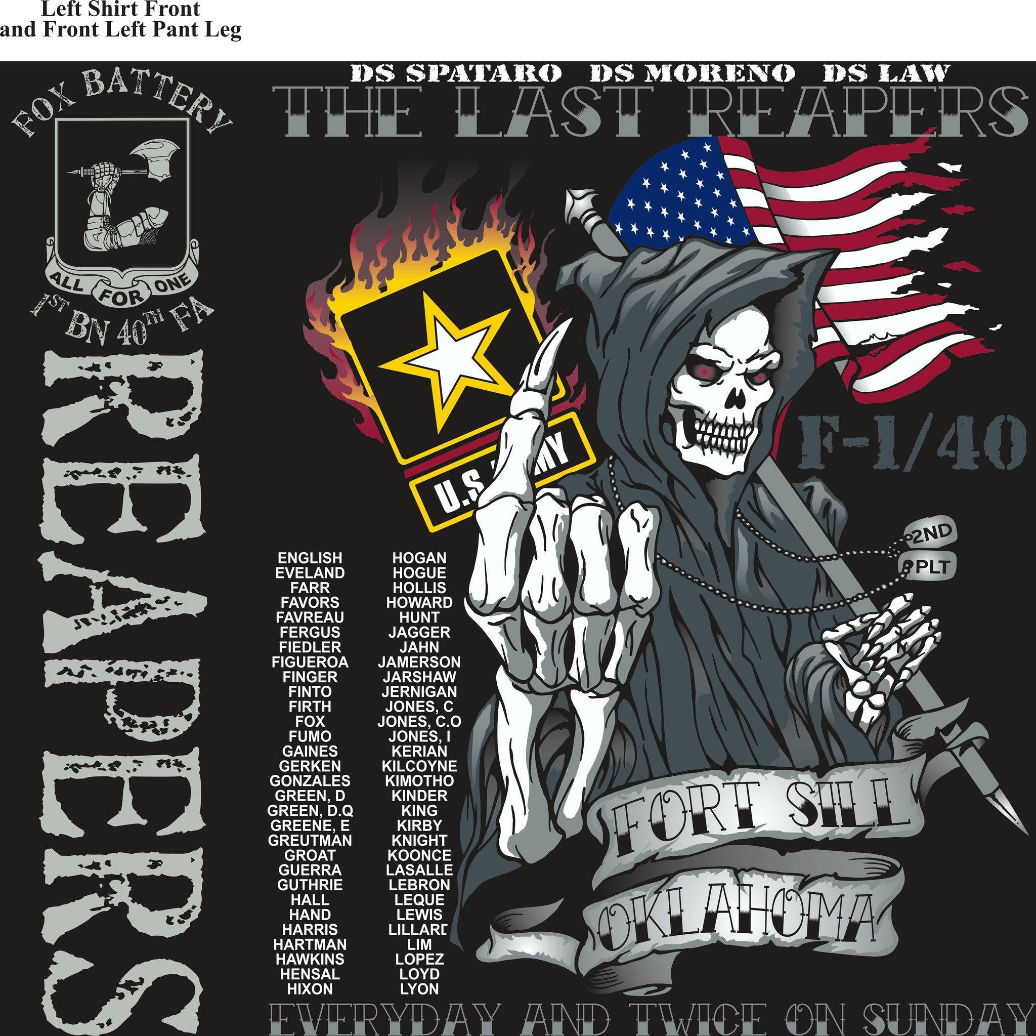 PLATOON SHIRTS (2nd generation print) FOX 1st 40th REAPERS AUG 2016