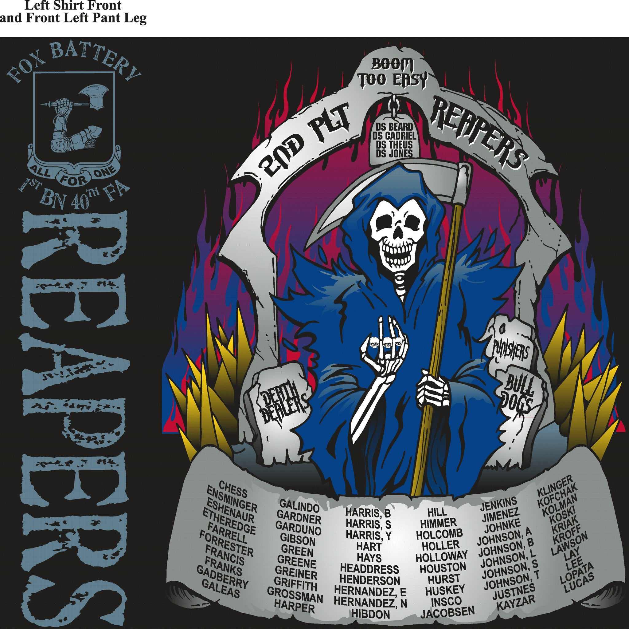 Platoon Shirts FOX 1st 40th REAPERS AUG 2015