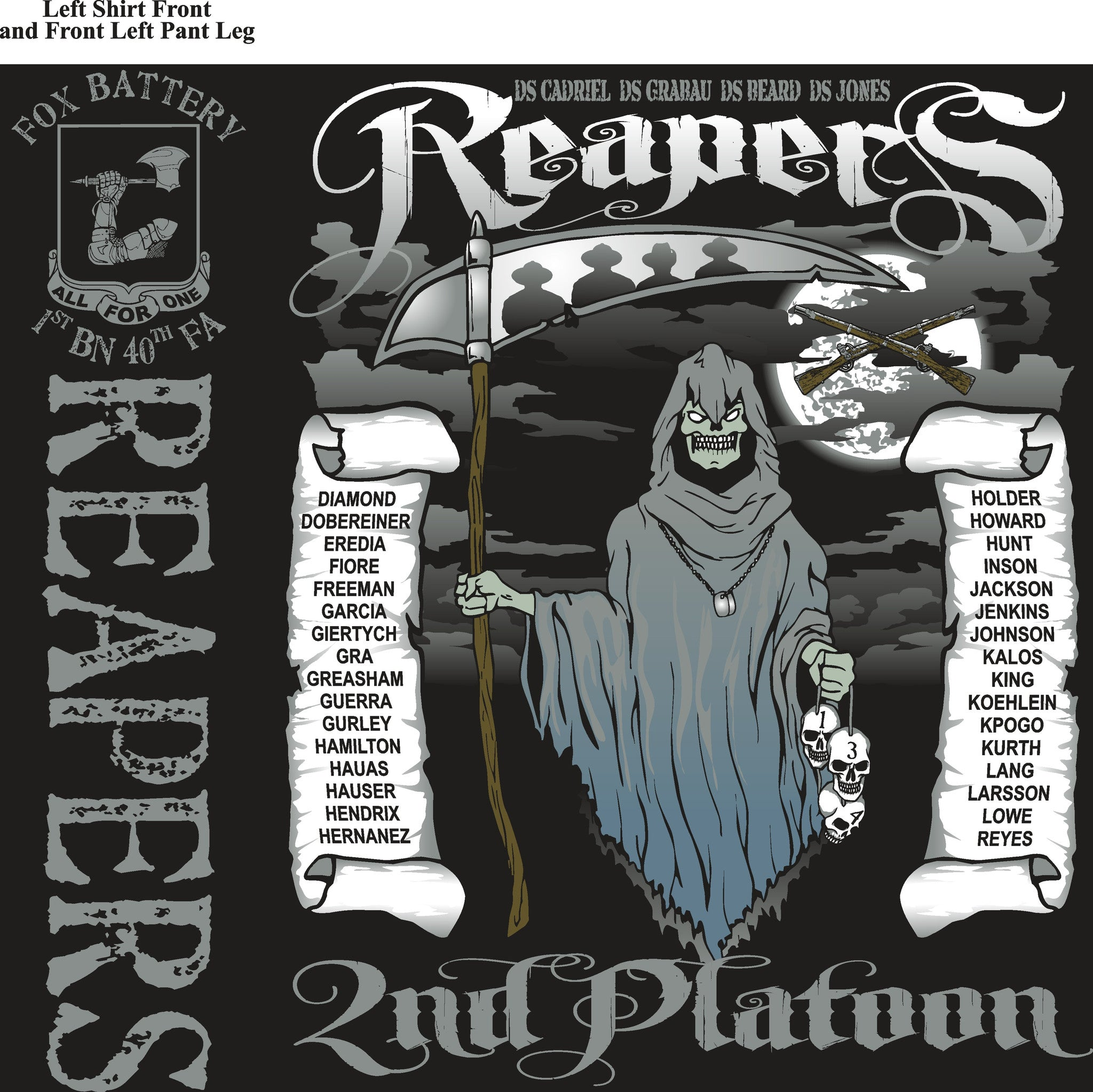 Platoon Shirts FOX 1st 40th REAPERS MAY 2015