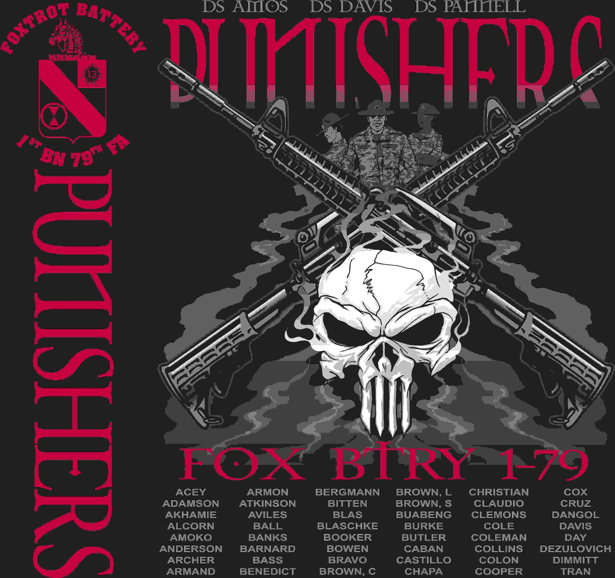 PLATOON SHIRTS (2nd generation print) FOX 1st 79th PUNISHERS MAR 2016