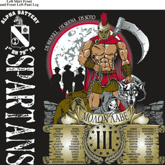 Platoon Shirts (2nd generation print) ALPHA 1ST 79TH SPARTANS MAR 2018