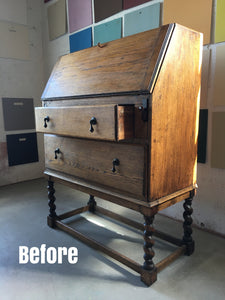 Before and After - Styling an Antique Oak Drop Front Secretary Desk