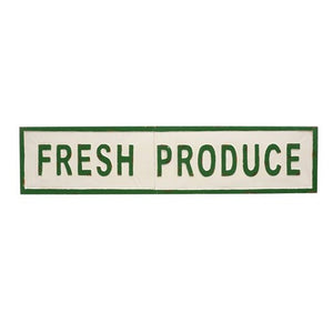 Produce Sign - Metal Green and White