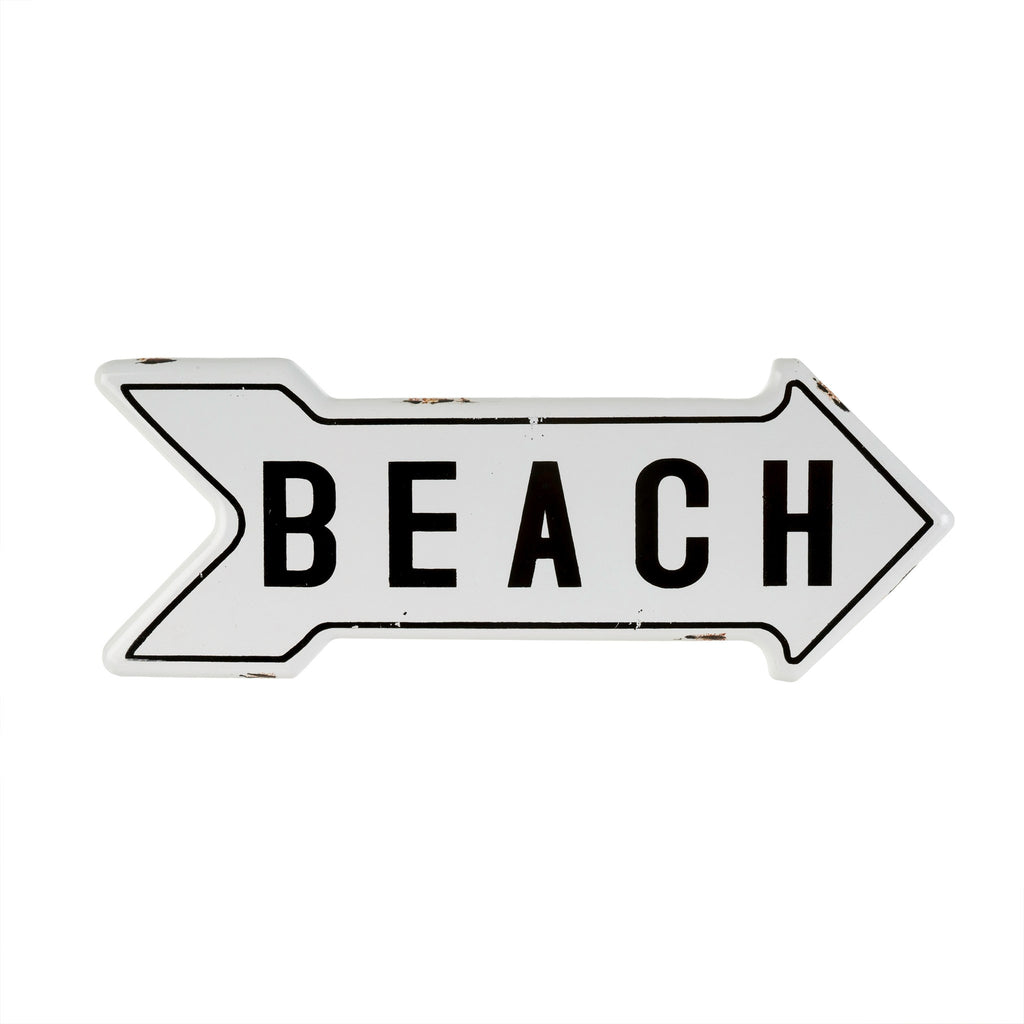 To The Beach - Enamel White Arrow