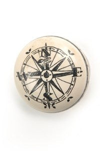 Knob - Compass Ceramic Ivory/Black