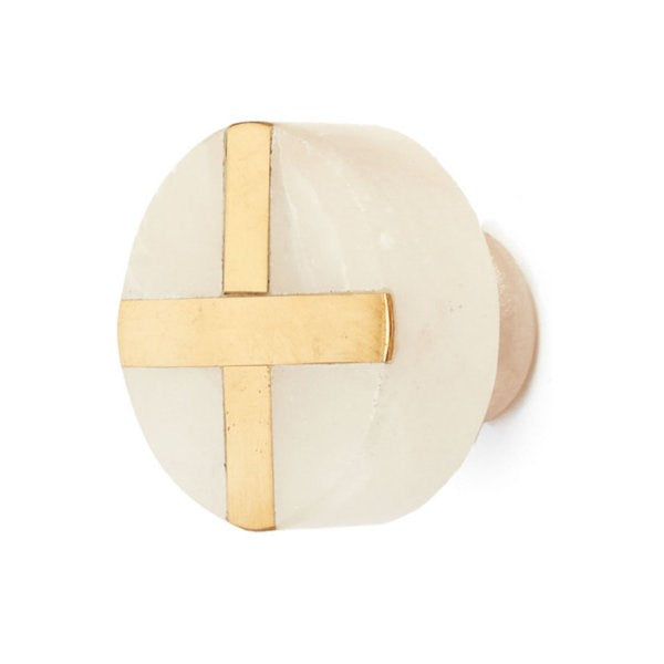 Knob - Gold Cross X on White