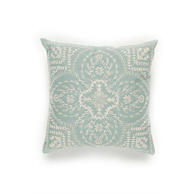 Embroidered Cusion/Pillow - pale blue/white
