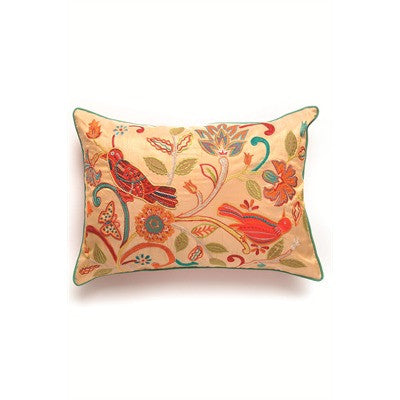 Folk Bird Embriodered poly Pillow 14x20