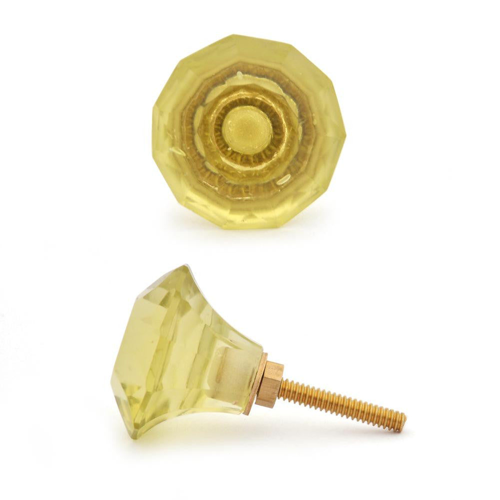 MEDIUM - Lemon Yellow Diamond Cut Knob