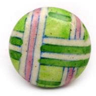 Hand Painted Ceramic Knob - GREEN PINK PLAID