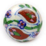 Hand Painted Ceramic Knob - RED PAISLEY