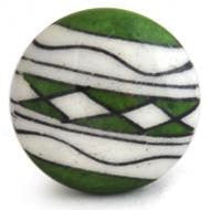 Hand Painted Ceramic Knob - GREEN PATCHWORK
