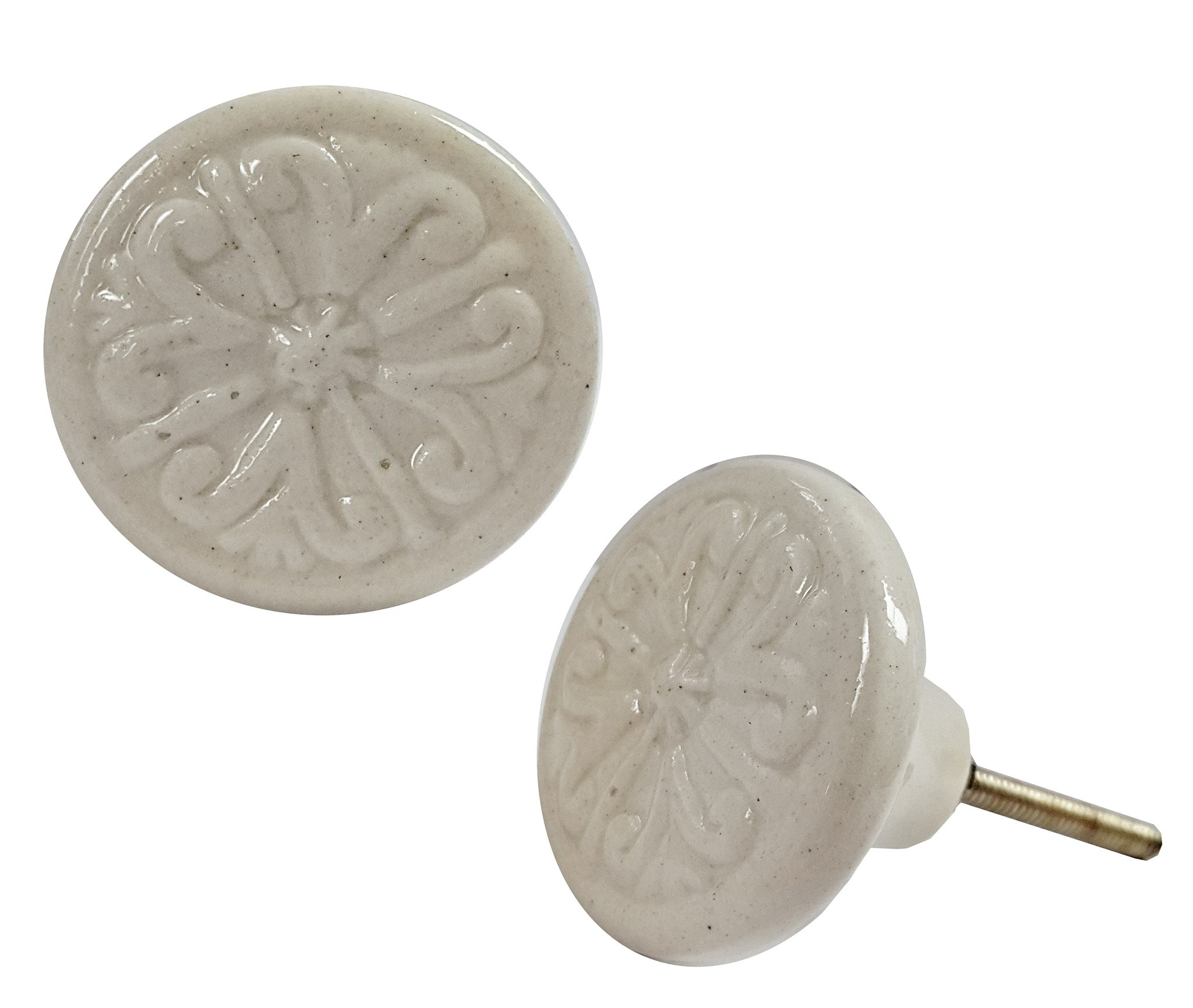 Designer Knob - Ceramic Bone White