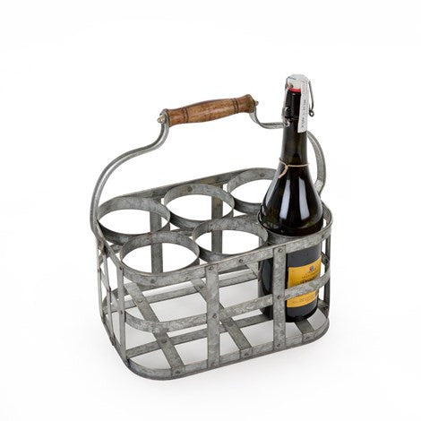 Galvanized 6 Bottle Caddy