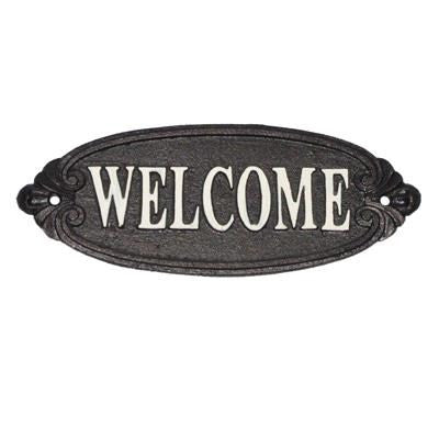 Iron Welcome Sign Blk w/ Wht. script