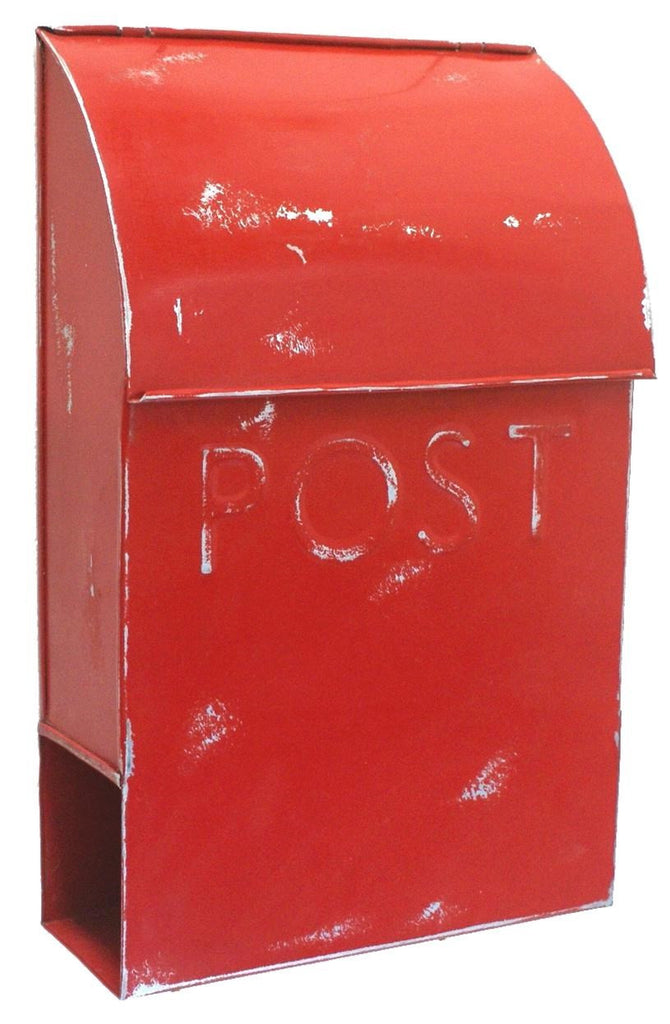 Rustic Euro Mailbox - POST RED
