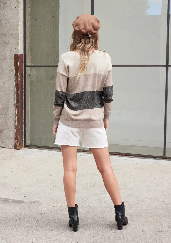 Metallic Colorblock Sweater