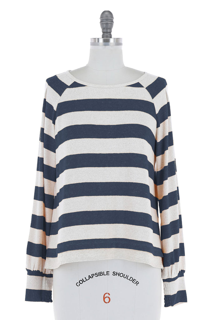 Pleated Shoulder Stripe Top