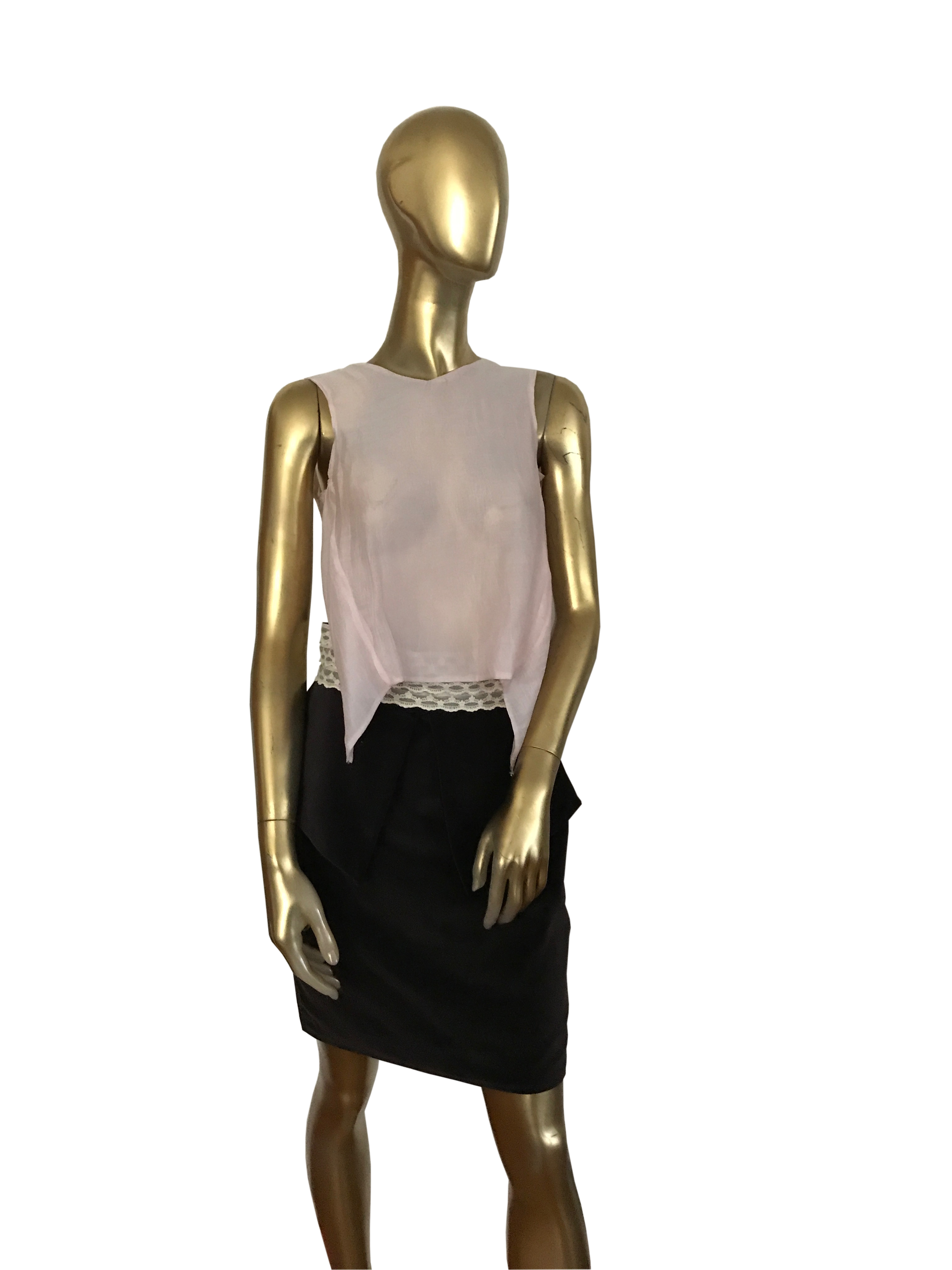 Powder Pink Sheer Sleeveless Top with Backless Open Back with Jewelry Decoration