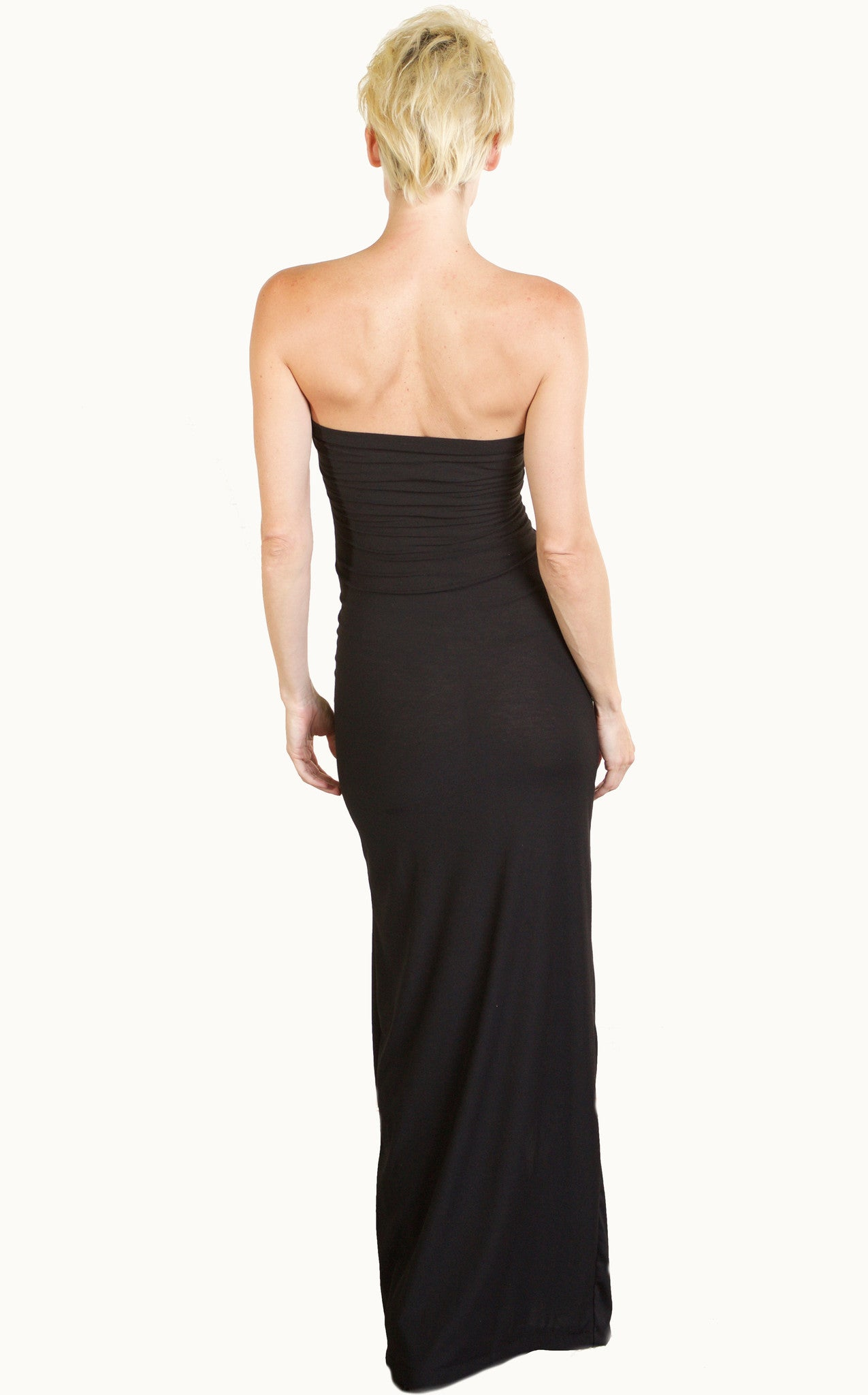 Floor Length Body Dress in Sexy Body Con Black