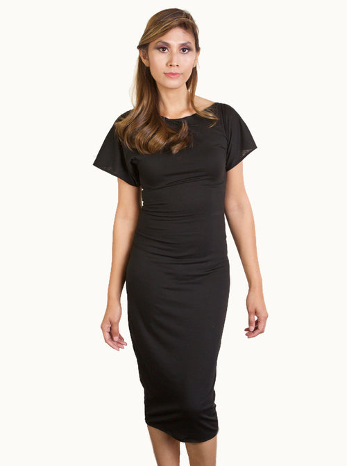 Black Short Sleeve Knit Body-con Dress