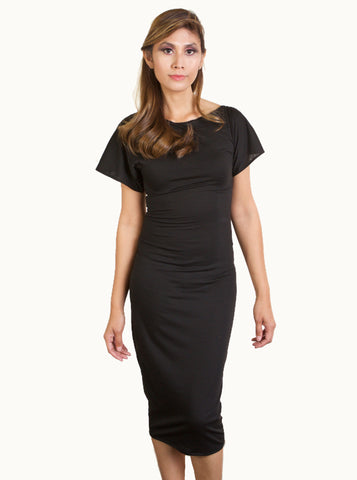 Black Knit Body Contour Dress with Airy Pink Sleeves