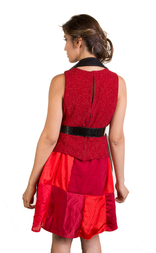 Black Mesh & Red Patchwork Dress